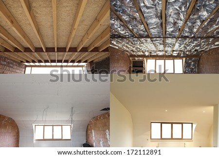 construction of the wooden frame of a roof Fibrerglass insulation installed in the sloping ceiling of a house. Construction of Drywall-Plasterboard Before and after - stock photo
