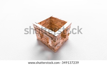 Construction of toy brick house in progress. White background. A top perspective view. - stock photo