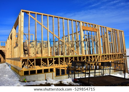 Construction of wood frame apartment building.