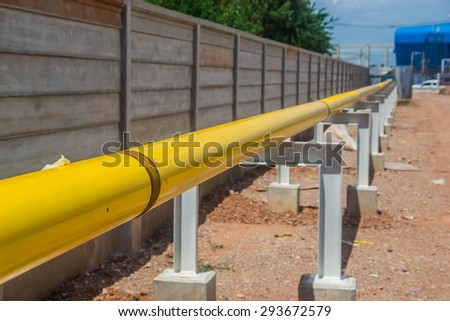 construction pipeline on support - stock photo