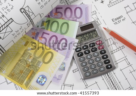 construction plan with euros and calculator