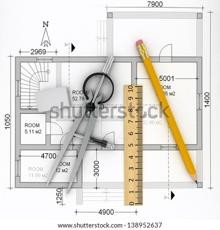 construction plan with scale and pencil, 3d