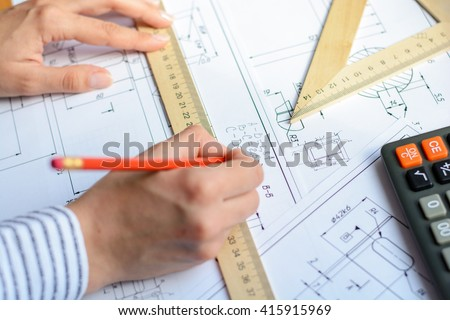 Construction planning drawings on the table  - stock photo