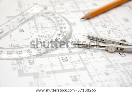 Construction plans - stock photo
