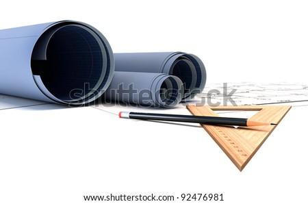 construction plans in rolls. 3d render - stock photo