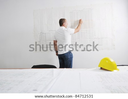 Construction Project business man Architect engineer manager at construction site - stock photo