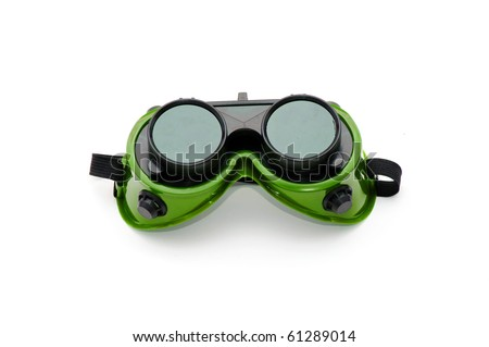 Construction protective welding mask isolated against white background - stock photo