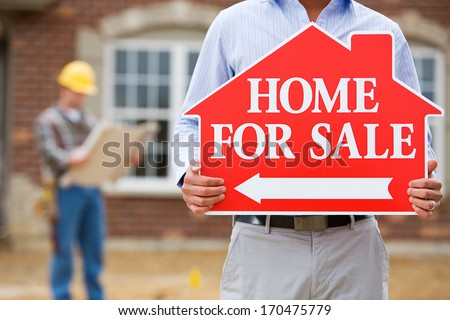 Construction: Real Estate Agent With Sale Sign And Builder Behind. - stock photo
