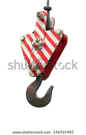 Construction red crane hook isolated on white background - stock photo