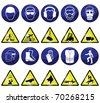 Construction related mandatory & hazards icons and signs - stock vector
