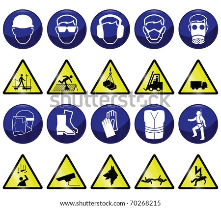Construction related mandatory & hazards icons and signs - stock photo
