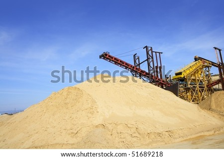construction sand quarry mountain installation machinery - stock photo