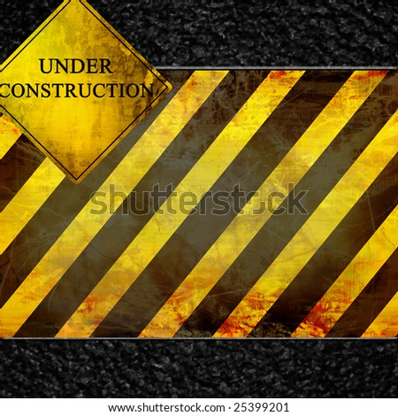 construction sign with some damage on it