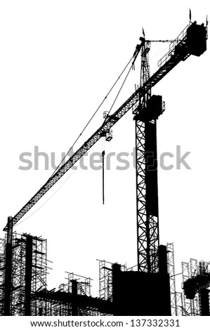 Construction site. A silhouette on a white background. - stock photo