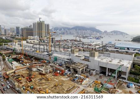 Construction site Aerial Shot at day, hong kong - stock photo