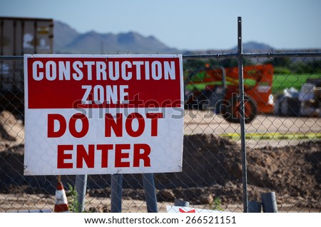 Construction Site and Sign - stock photo