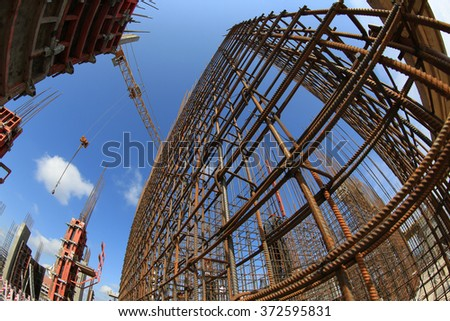Construction site. Armature in the front of a blue sky