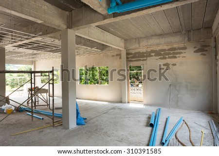 construction site building with cement material structure - stock photo