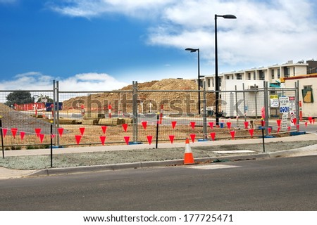 construction site closeup in sunny day - stock photo