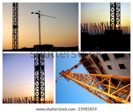 construction site collage - stock photo