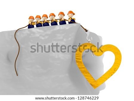 construction site comic 3d illustration wit wooden heart - stock photo