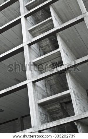 construction site, concrete structure of new building  - stock photo