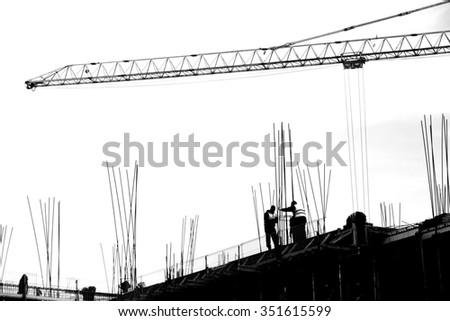 Construction site / Construction Site silhouettes / Building construction - stock photo