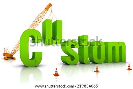 Construction site crane building a blue 3D text. - stock photo