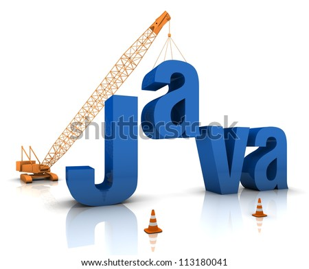 Construction site crane building a blue Java 3D text. Part of a series. - stock photo