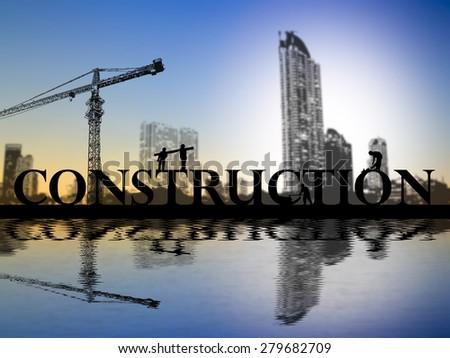 Construction site crane building construction text idea concept - stock photo