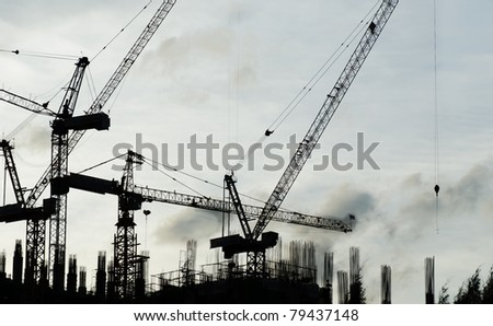 Construction site during sunset - stock photo