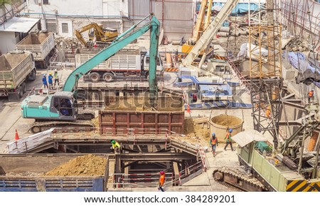 construction site for a ground level of a tall building, building construction, building construction, building construction, building construction, building construction, building construction,  - stock photo