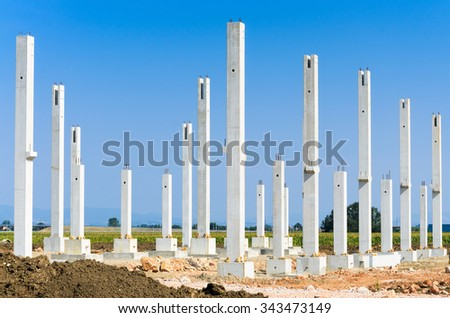 Construction site for a new factory, industry zone - stock photo