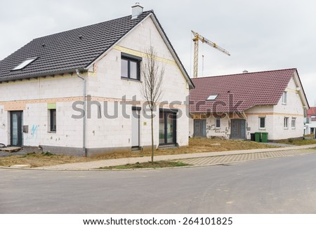 Construction site for a new house - stock photo