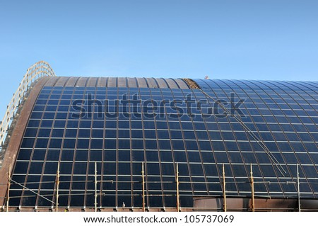 Construction site for solar panels - stock photo