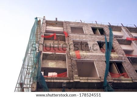 Construction site in Deira, region of Dubai. - stock photo