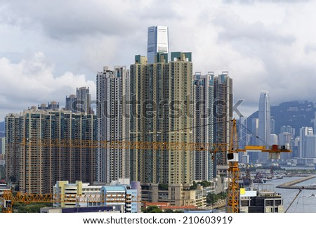Construction site in hong kong at day