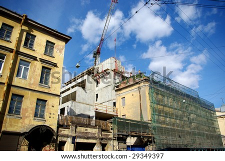 construction site in old city - stock photo