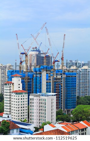 construction site in Singapore - stock photo