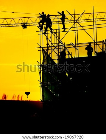 construction site in sunset - stock photo