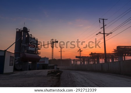 construction site in the night - stock photo