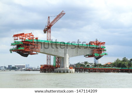 Construction site in the river - stock photo