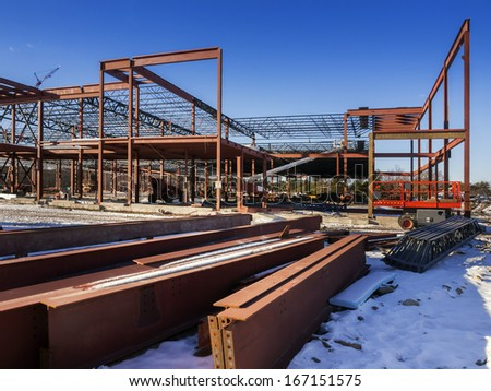 Construction site in the snow. - stock photo