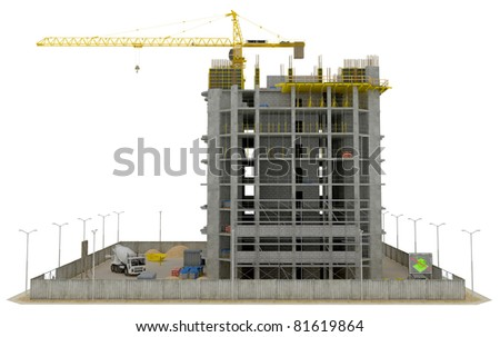 Construction site: incomplete skyscraper isolated over white