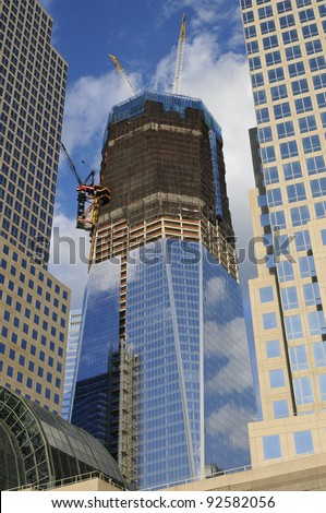 Construction Site, Lower Manhattan, New York, USA - stock photo
