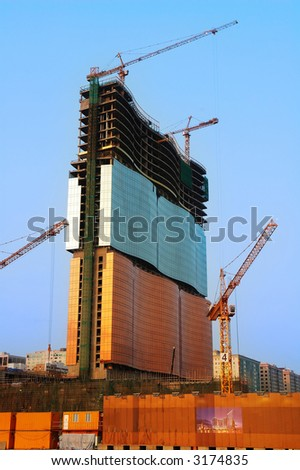 Construction site of a new casino building - stock photo