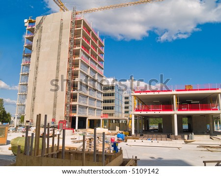 Construction site of a new office building - stock photo