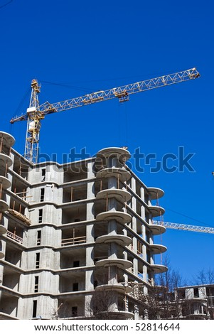 Construction site of an apartments building - stock photo