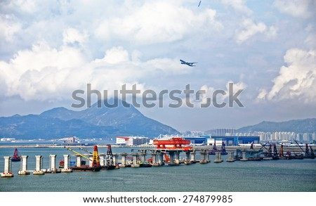 construction site of Hong Kong Zhuhai Macau Macao Bridge at day - stock photo