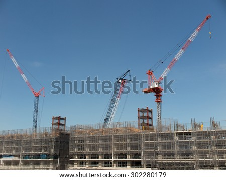 Construction site of large scale apartment - stock photo